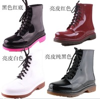 2013 PVC Transparent Women's Girl's Crystal Clear Flats Water Shoes Martin Rain Boots Womens winter Rainboot