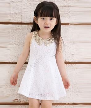 2013 New Baby Kids Children's Girls Lovely Sequins Collar Sleeveless Lace Vest Princess Dress Drop Shipping 14554
