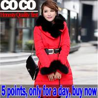 95% white duck down fox fur 2014 new autumn winter thickening women down jacket coat Parkas females outerwear coats clothingA004