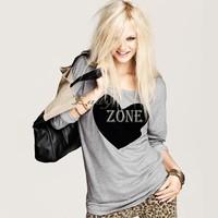 Wholesale 5pcs/lot Women's Heart Pattern T-Shirt Long Sleeve Crew Neck Casual T-Shirt Tops Gray M L XL 18409