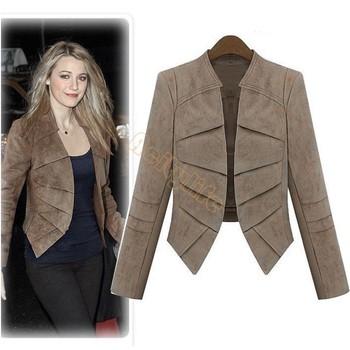 2014 Модный Женщины Повседневный Outwear Spring Autumn Замша Leather Jacket Длинный ...