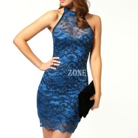 2014 Hot Sale Fashion Chinese dress Women's Sexy V-Neck Sleeveless Lace Floral Party Dress 3 Colour SV001063 b009