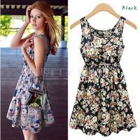 2014 New Women Elastic Waist Flower Print Sleeveless Vest Dress Ladies Party Evening Dress crew neck mini Sundress B19 SV003790
