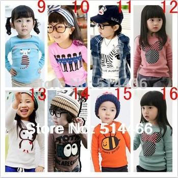 Free shipping Retail Kids Tops Cartoon Long Sleeves T shirt Children Girls Boys Fashion Mickey Minnie Basic Cotton Sweatershirts