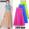 Newest Euramerican Pop Skirt, Bohemian Series, Best quality multicolored maxi 2 layers, Chiffon high-waist 110CM length, JW-S024
