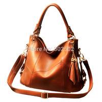 Free shipping!Women's fashion Genuine Leather Bag 2014 Women's  classic Cowhide Tassel Bag 3 colors vintage female shoulder bags