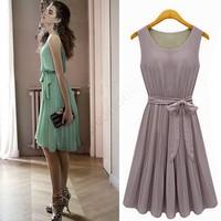2014 New Fashion Korea Women's Elegance Bow Pleated Vest Chiffon Dress Round Collar Sleeveless Dress Free Shipping B16 10259