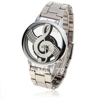 Hot Sale Silver Stainless Steel Skeleton Watch Music Symbol Quartz Watch Hollow Dial Wristwatch Bolun Brand Watches for Men