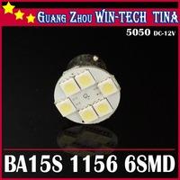 Free shipping 20pcs DC 12v 6 LED 5050 SMD 1156 BA15S Car Tail Brake Turn Signal White Light Bulb Lamp White Color