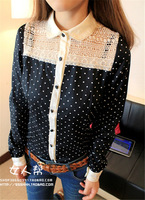 Big Promotion !!! New Korean Women Girls Cute Dots Chiffon Top Shirt Casua Blouse Long Sleeve Free Shipping