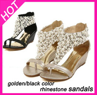 2014 brand Rhinestone zipper pearl beaded high heels sandals black wedges women shoes Free shipping