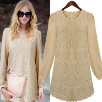 Free shipping 2013 Europe Style Ladies Celebrity Mini Dresses Round Collar Long Sleeve Elegant Lace Chiffon Dresses