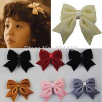Wholesale 30pcs Boutique Velvet Hair Bows with Tails Cute Baby Girls Hair Clips Kid's Alligator Hairgrips Children's Hairware