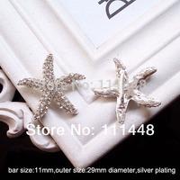 (S0452) 11mm inner bar ,metal rhinestone buckle, starfish shape,100pcs/lot,three style,please choose style when you order