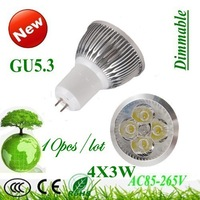 10X  High power  GU5.3 / GU10 4x3W 12W  AC85-265V led bulb led lamp Dimmable warm/pure/cool whuite led Spotlight FREE SHIPPING