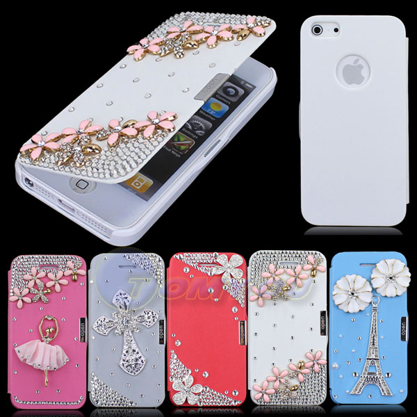 Hot Sale New Stylish Luxury 3D Gold Flower Cross Diamond Flip Style Leather Hard Case Cover For iPhone 5 5S Free Shipping(China (Mainland))
