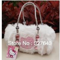 New Arrival!!2013 Fashion Cute Bow Hello Kitty Velour tote bag handbag shoulder Luggage Free Shipping