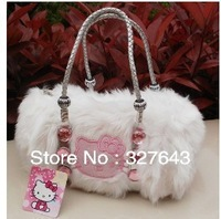 New Arrival!!2013 Fashion Cute Bow Hello Kitty Velour tote bag handbag shoulder Luggage Free Shipping