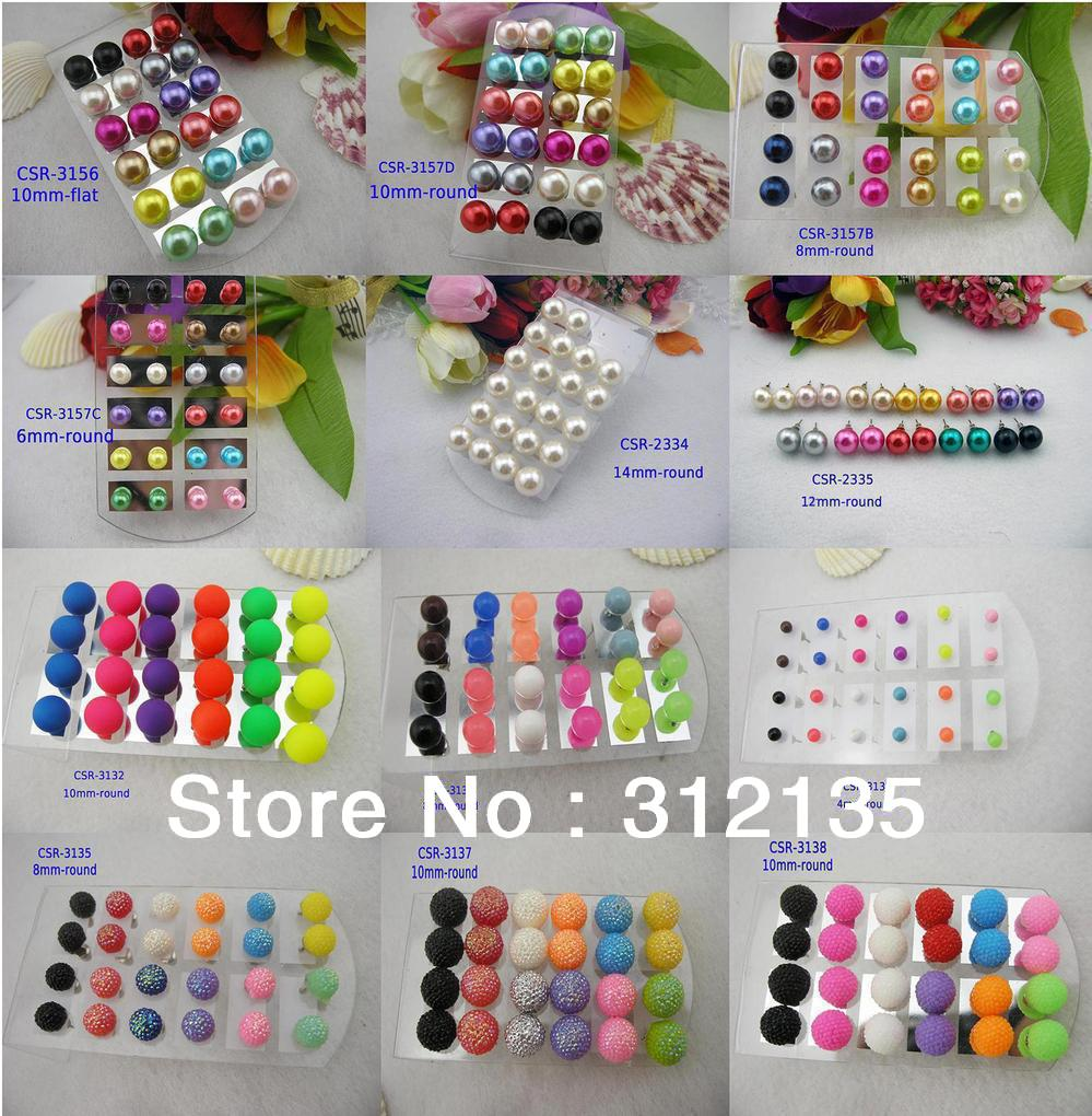 Fashion Color Imitated Pearl Ball Stud Earring Jewelry Round/Flat Dia:4/6/810/14mm Mixed Color 12pairs/LOT 1$ Freiht(China (Mainland))