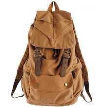 Grátis frete couro genuíno do Vintage mochila Canvas mochila montanhismo homem / mulher / school_M188(China (Mainland))