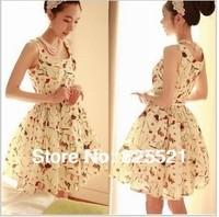 Free Shipping 2014 Summer New women Chiffon Dress Korean Retro Court Chiffon Floral Dress (send the Original Belt)