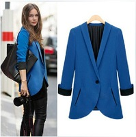 New ZA 2013 fashion Long Sleeve Casual Slim fit Blazer OL Women One Button contrast Outwear Coat Suit Free shipping