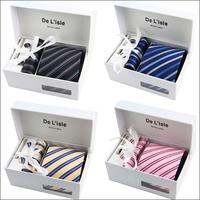 Hot selling New 2014 Fashion Necktie Silk Tie+ Cufflink + Tie clip +Hankie (no box) for Men 8.5cm Tie Set  Free Shipping