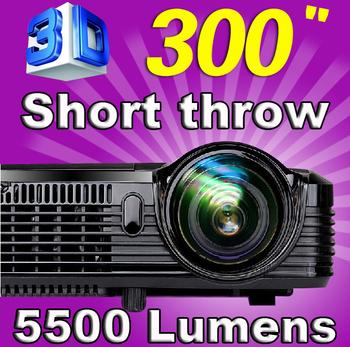 2015 New High Brightness 5500 lumens 240W Osram lamp HDMI DLP Data show 3D Short throw Projector projetor for school classrooms