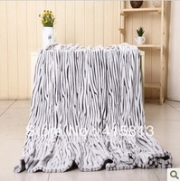Free shipping Spring Autumn coral fleece blanket thicking 100% flannel zebra  blanket air conditioning blanket