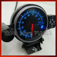 95mm Black Face Blue LED Display Tachometer RPM Gauge With Shift Light