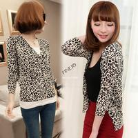 Women's Leopard Print Casual Tunic Long sleeve Cardigan Knitwear Sweater Blouse Tops Drop shipping 16269
