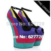 Free Shipping Contrast Color Women Pumps,Platform High Heel Shoes Women,GZ Shoes Heelless Fancy Shoes