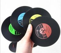 Creative fashion retro Vinyl discs Record coasters nostalgia non-slip heat insulation cup mat pad gift innovative items 10set