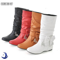 Women,s Boots New Lovely Style BIG Biwte Rhinestone Mid-calf Snow boots Flat Women's Shoes 2014 Hot Sell Big size 34-47 #4959 PU