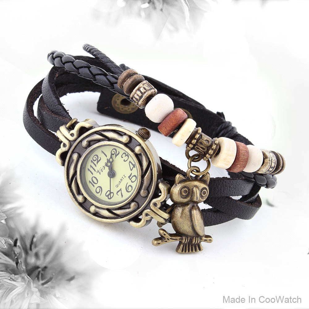 Vintage Watch Leather Strap bronze ladies quartz Watches Owl Pendant item hours wooden Bead Bracelet watch Casual watches(China (Mainland))