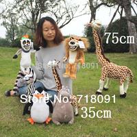 6PCS/LOT,25cm,Toy Madagascar Doll,Stuffed Plush Animal For Children Birthday Gifts,Drop Free Shipping