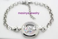 10pcs 316L not 304 plain magnetic stainless steel floating charm memory living glass locket  bracelet  8'' +extension chain