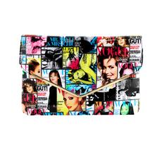 Fashion Magazine cover Art PU leather handbag cross body messenger bag envelope day clutches one shoulder bolsas with gold cha