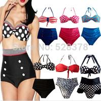 Free Shipping New 2014 High Waist Tankinis set lady sexy swimwear women swimming clothing Set  20 styles  drop shipping t054