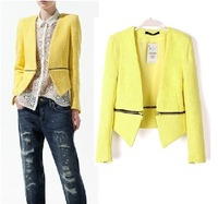 2013 new fashion ladies yellow / white / black two-way zipper leisure suit jacket suit jacket 3 color free shipping