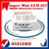 Hot Sale 2013 SUPER MINI ELM327 Bluetooth OBD2 V1.5 white OBDII Car Scan Tool Mini327 auto code reader ELM 327 free shipping