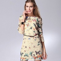 M-XXL New 2013 New Fashion Women's Butterfly Sexy Print Lace Hollow Embroidered Mini Dress with Belt Zipper Free Shipping B012