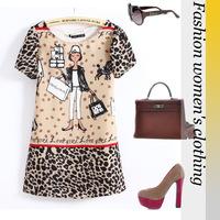 B015 Free Shipping Hot! Women's 2014 New Sweet Cartoon Chiffon Crew Neck Straight Leopard Printed Mini Dress Summer