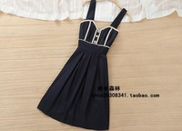 2014 new fashion trade of the original single-fresh and elegant temperament Slim thin dark blue and beige dress