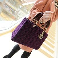 2015 new pu leather velvet women handbag brand designer lady tote bag letter high quality messenger bag bolsa sacola feminina
