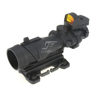 JJ Airsoft ACOG Style 4x32 Scope with Docter Mini Red Dot Light Sensor&QD Mount(Black) FREE SHIPPING Buy 1 get 1 killflash FREE