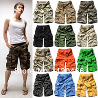 2013 Summer Mens Boys Fashion Casual Loose Camouflage Vintage mens Military cargo Army shorts With Belt Free Shipping