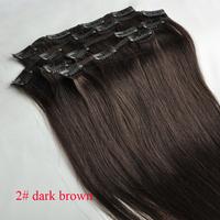 "15"" 18"" 20"" 22"" remy clip in human hair extensions full head 2# dark brown 7pcs 70g 80g"