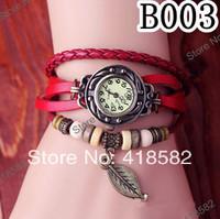 B003--High Quality 2014 new women vintage bracelet watch leaf pendant Genuine leather quartz wristwatches  free shipping
