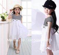 Chiffon ruffles stripe hand flowers Cute Hot Kids Girls Princess  cotton Dress one-piece  ladies skirt